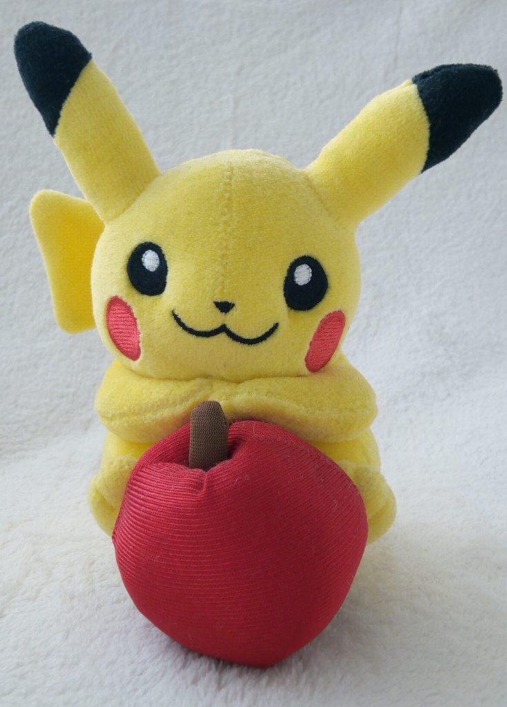 Rainbow Series 2010 plush by Pokémon Center Pikachu with Apple front