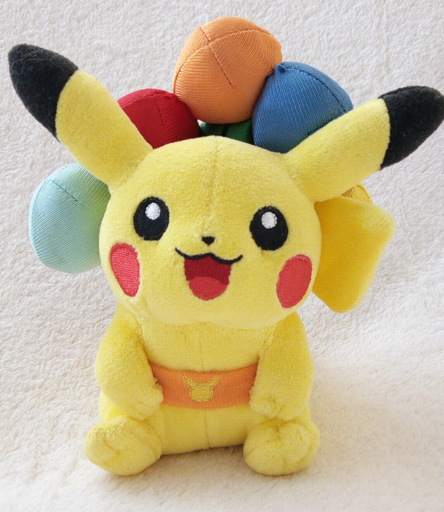 Rainbow Series 2010 plush by Pokémon Center Flying Pikachu with balloons front