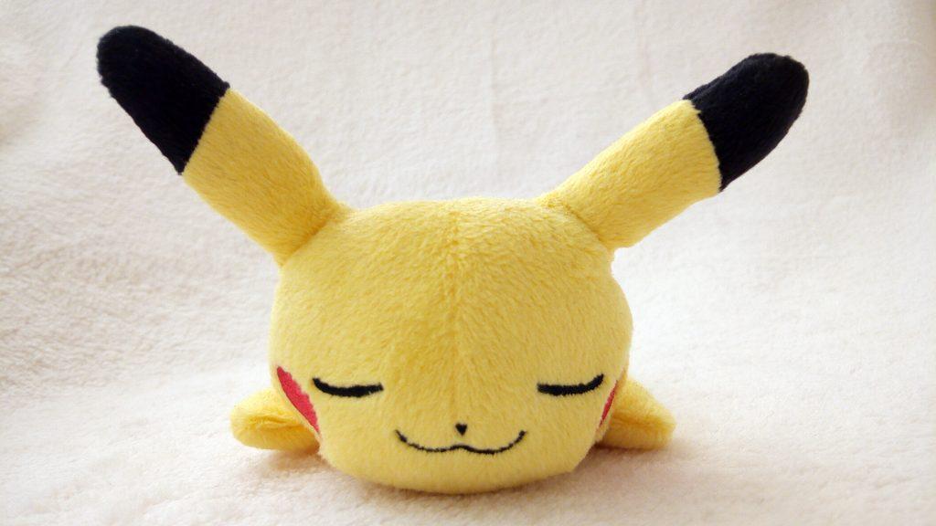 Pokémon Kuttari plush by Pokémon Center sleeping Pikachu front Japanese