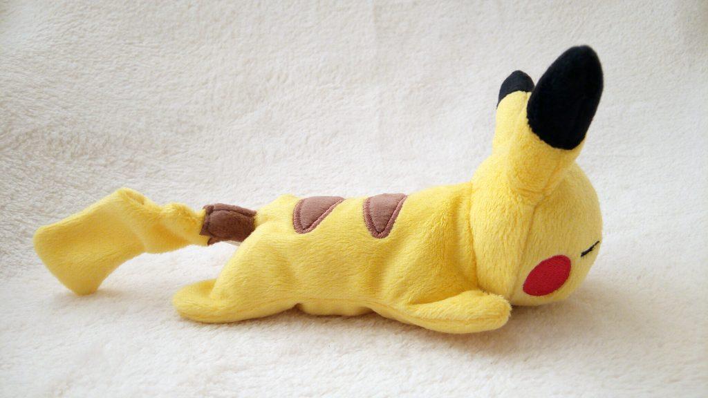 Pokémon Kuttari plush by Pokémon Center sleeping Pikachu side Japanese