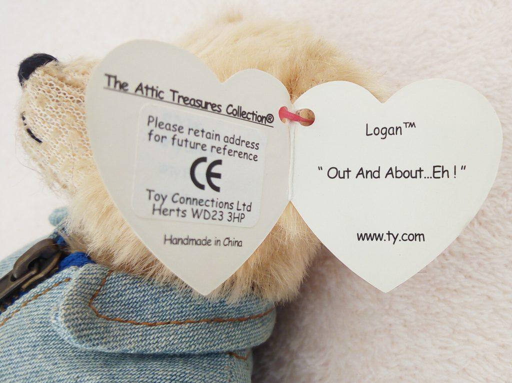 Inside the swing tag of Ty Attic Treasure Logan
