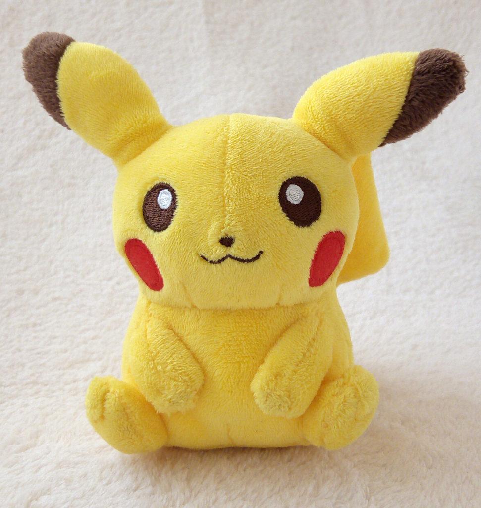 A front shot of Pikachu Canvas Plush
