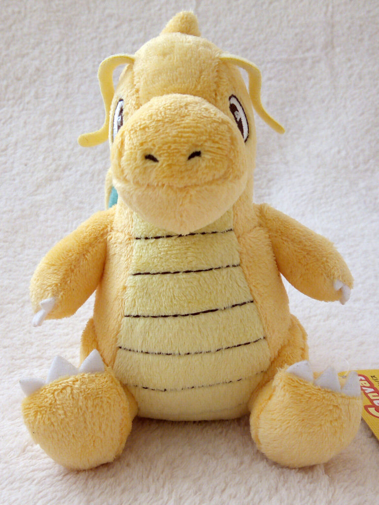 A front shot of Dragonite Canvas Plush