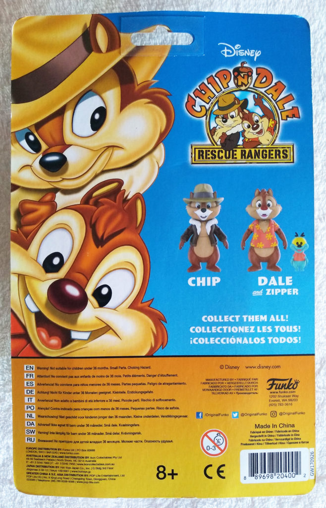 Disney Afternoon Action Figures Chip by Funko. Back in packaging.