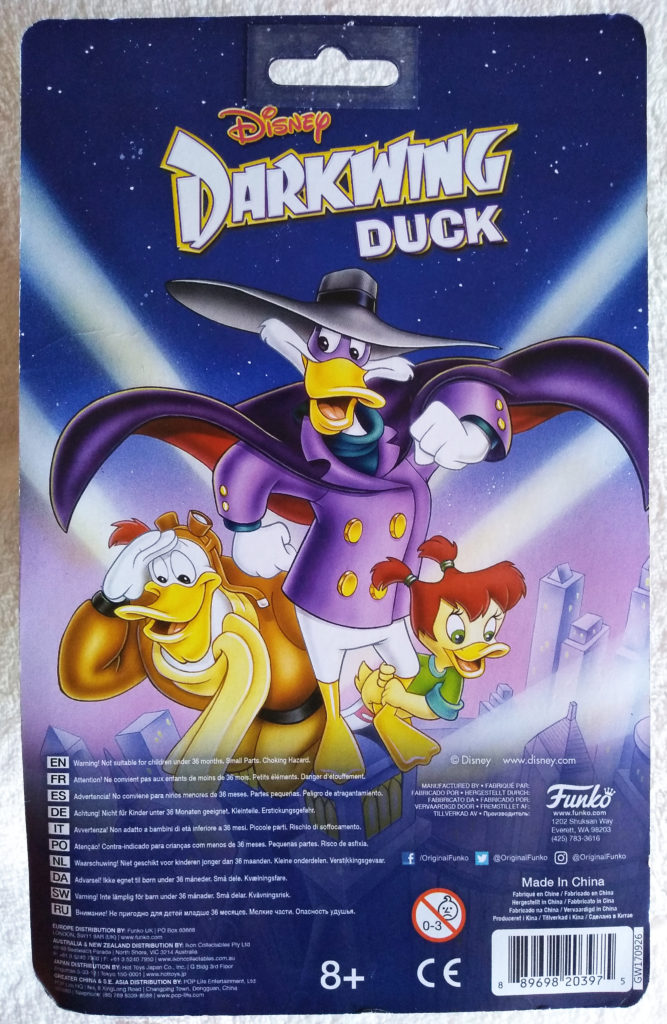 Disney Afternoon Action Figures Darkwing Duck by Funko. Back in packaging.