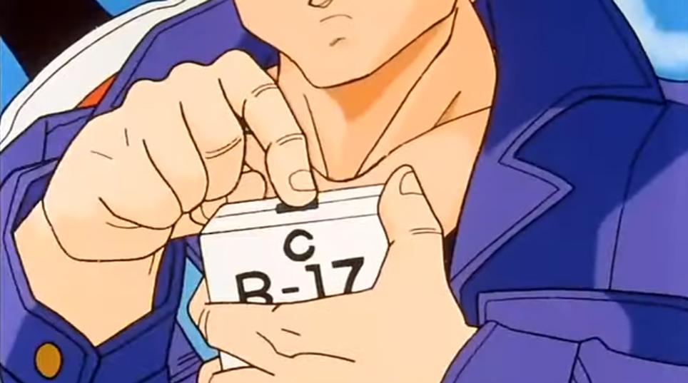 Screenshot of DBZ Ep 121 Future Trunks holding the box