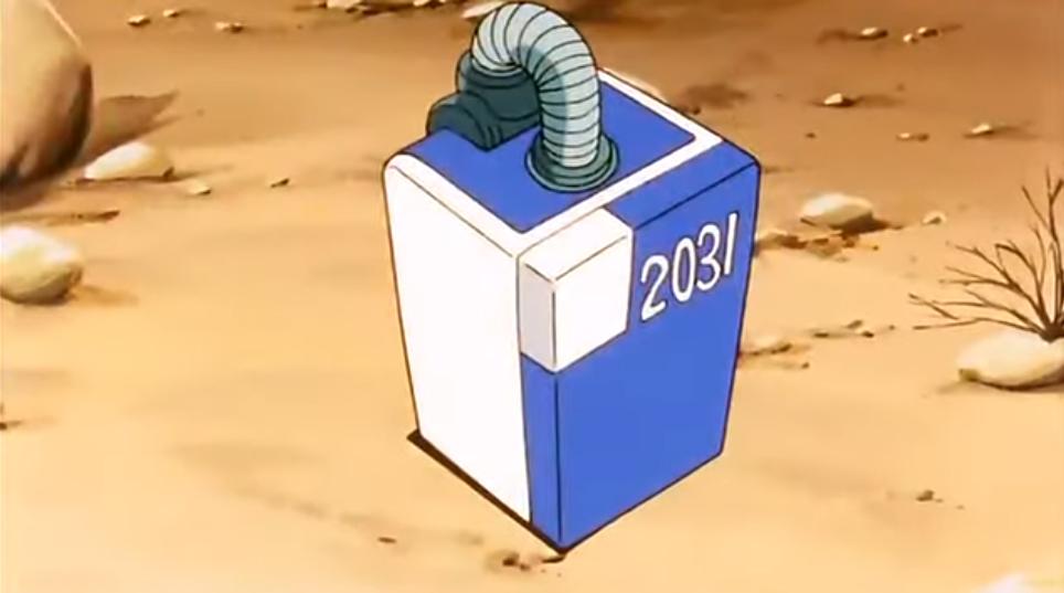 Screenshot of DBZ Ep 121 Capsule Refrigerator