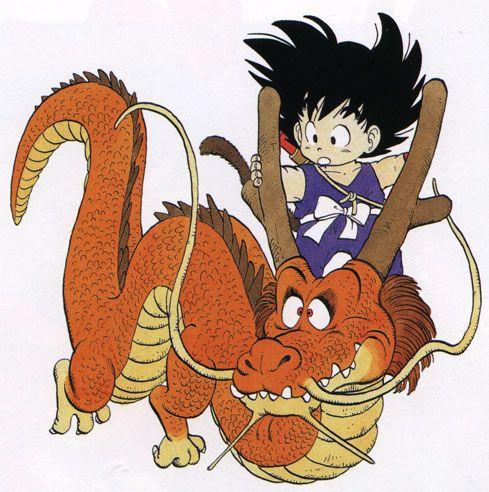 Young Goku on orange Shen Long artwork by Akira Toriyama