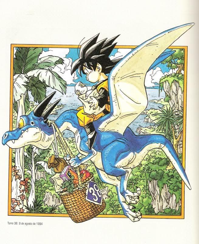 Goten on blue dinosaur artwork by Akira Toriyama