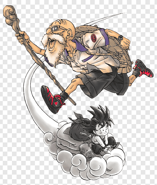 Master Roshi & Son Goku artwork by Akira Toriyama