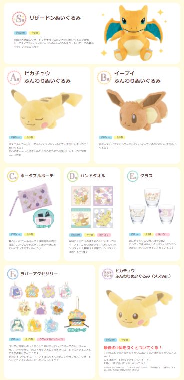 Pokémon Collection Ichiban Kuji 2017 prizes