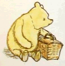 Illustration of Winnie the Pooh Bear with a picnic basket of E. H. Shepard.