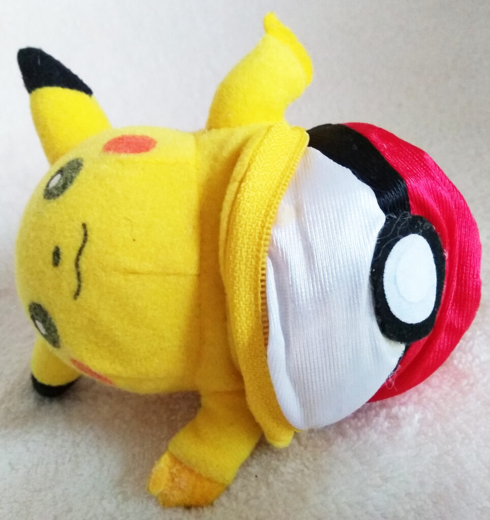 Reversible Pokéball plush by Tomy, Pikachu opened