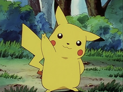 Screenshot of the Pokémon anime of Pikachu in his Victory Pose / Peace