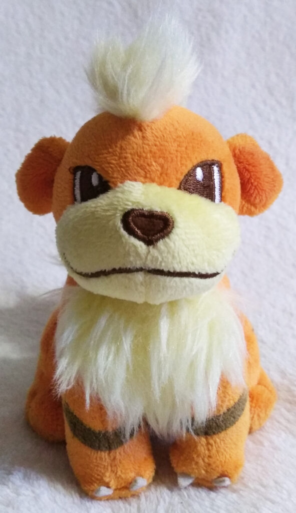 A front shot of Growlithe Canvas Plush