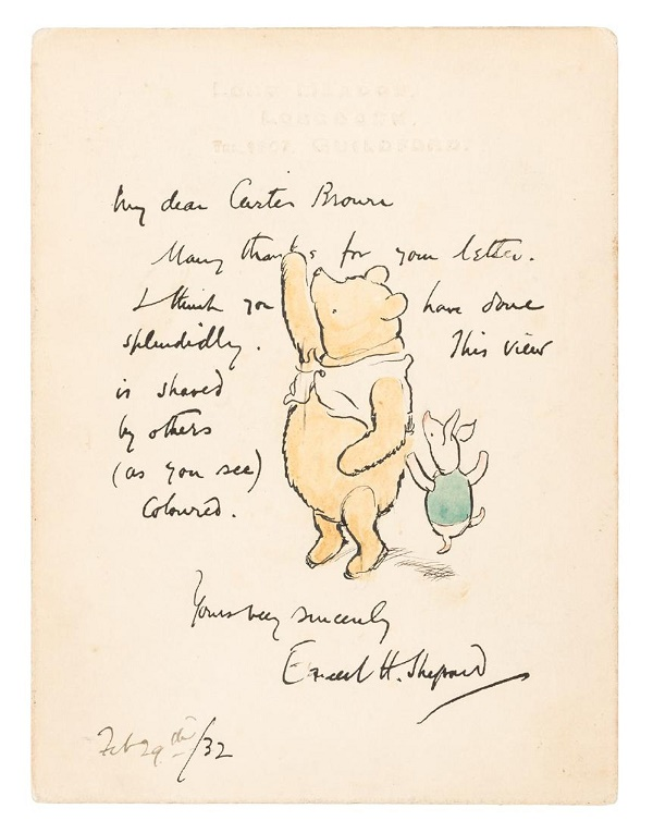 Drawing of Winnie the Pooh and Piglet by Ernest Howard Shepard